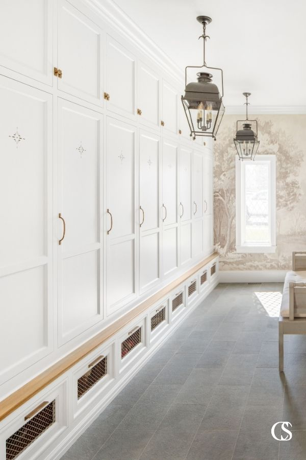 "Lockers aren't just for high schools! They actually make some of the best cabinets for an entry way because they can sneakily hide away all the ""things"" you don't want in the more formal spaces of your home."