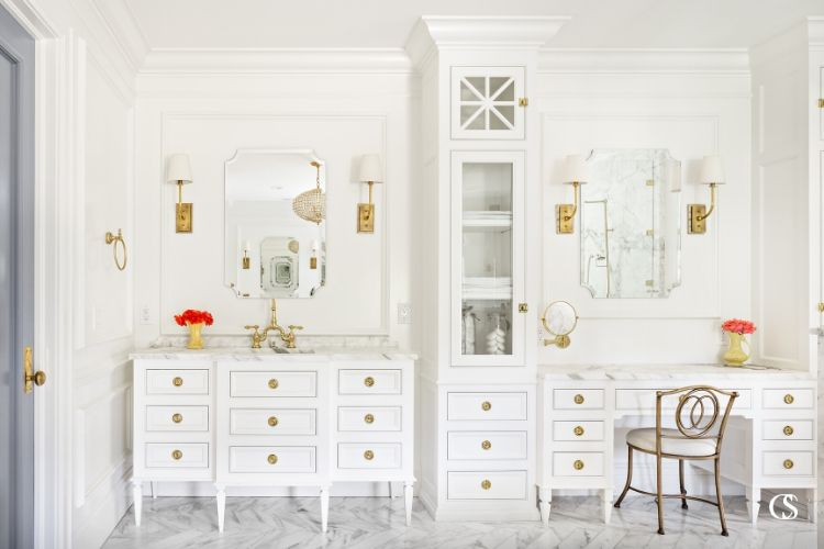 The best custom bathroom cabinet design works with the space you have to get you everything you need from a custom sink cabinet with matching vanity and floor to ceiling storage.