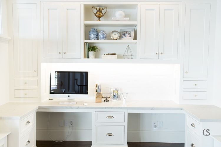 In many cases, your custom home office cabinetry will reflect the style and materials found in the rest of your home.