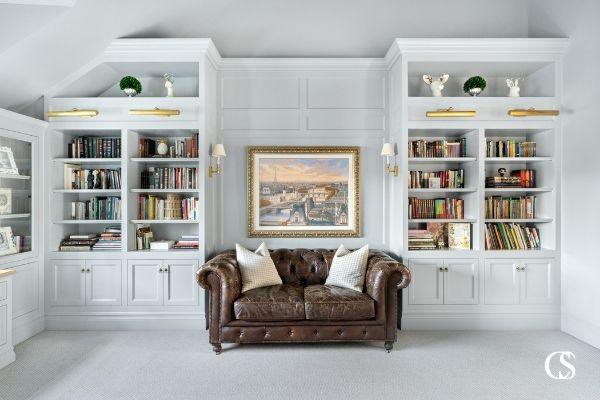 custom built in book shelves
