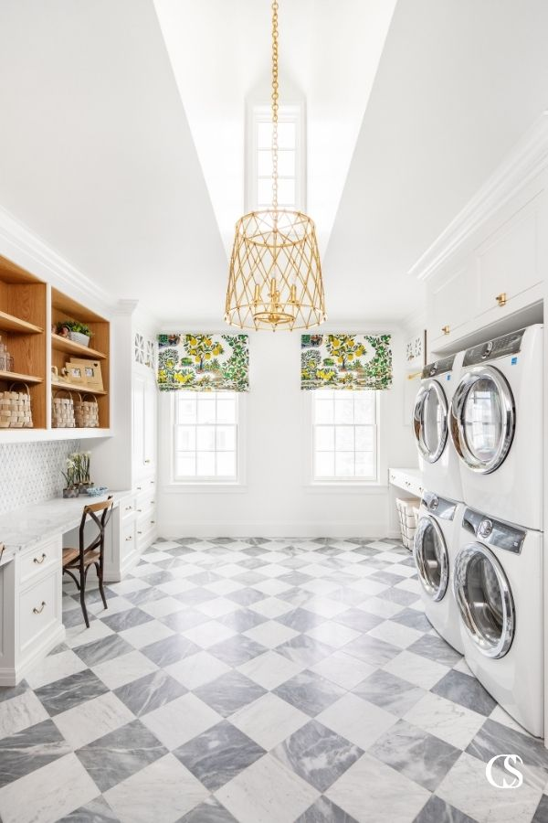 Some of our best custom cabinet design ideas have appeared in slightly less conventional spaces—like the study hall + laundry room combo. But it works!