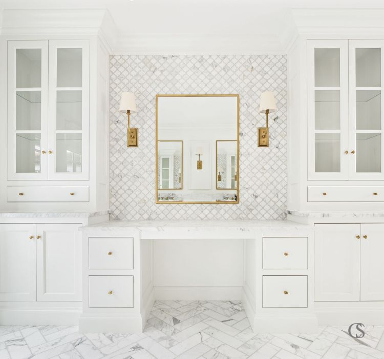 Opting for custom unique bathroom cabinet design means getting your own personal vanity and plenty of gorgeous storage opposite your double sinks. That's what I'd call heaven.
