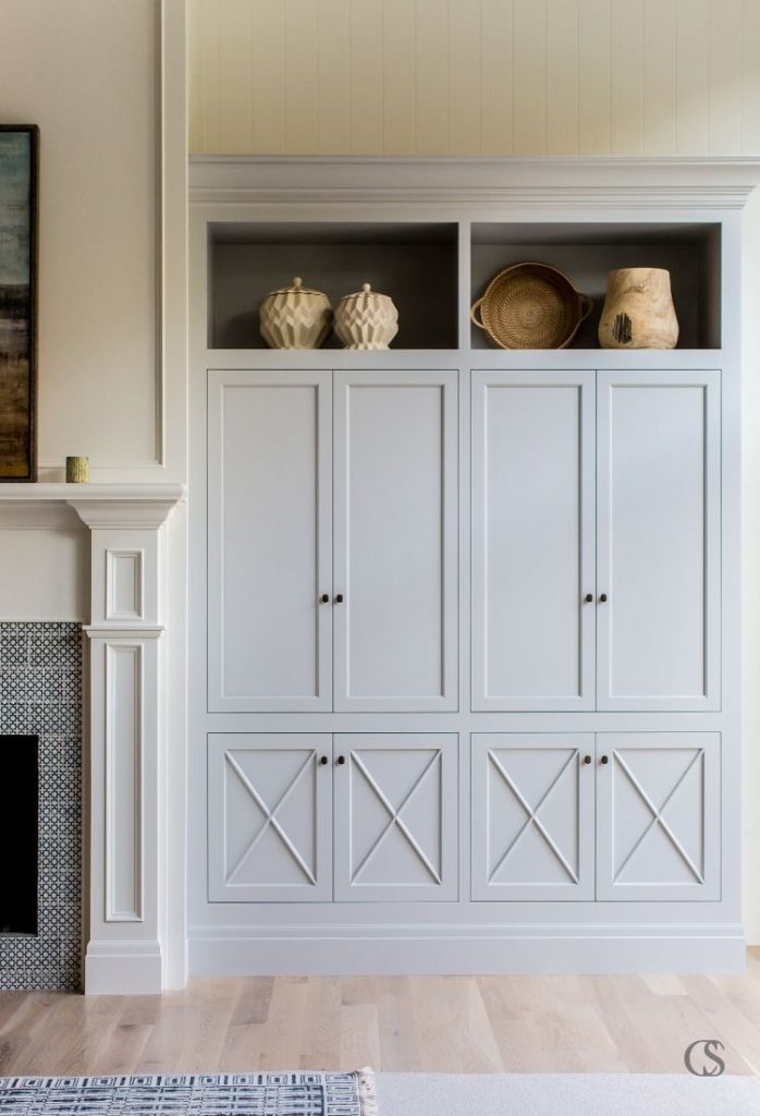 Unique custom cabinets in your living room can include high selves for displaying artwork or pottery along with enclosed storage areas in a variety of sizes to accommodate so many needs!