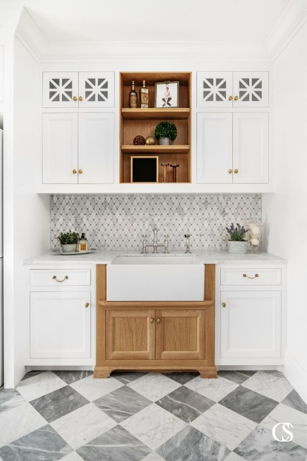 Every one of the symmetrical, angular patterns in this unique design idea for the cabinets makes it perfectly unique and worth standing over the sink for.unique design ideas for cabinets
