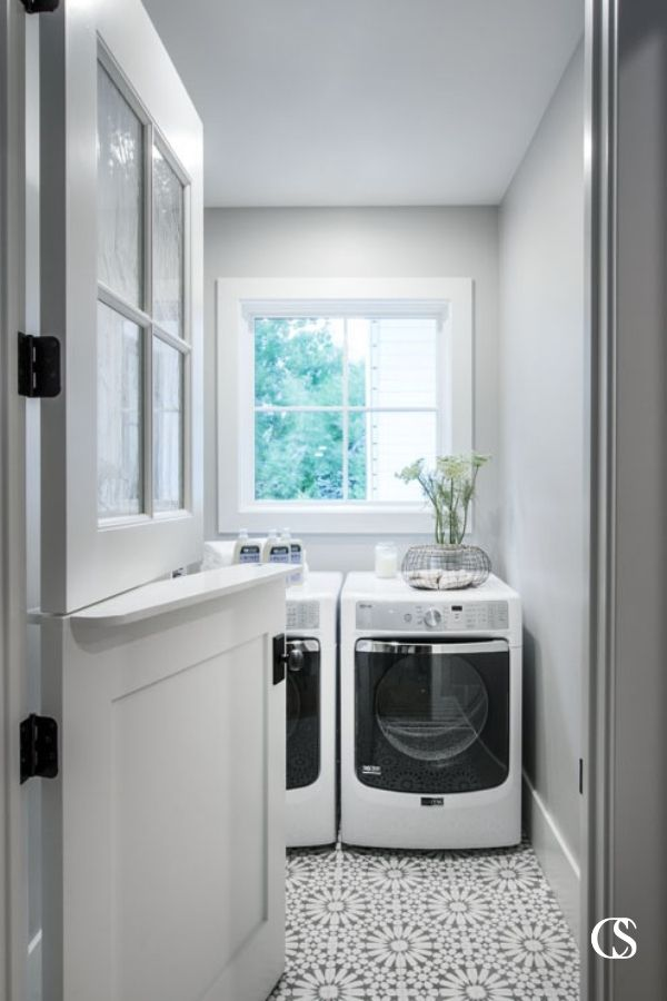 The addition of a pony door makes this a unique design idea for the laundry room. That way the smaller space isn't totally closed off from the rest of the house while you switch over a load.