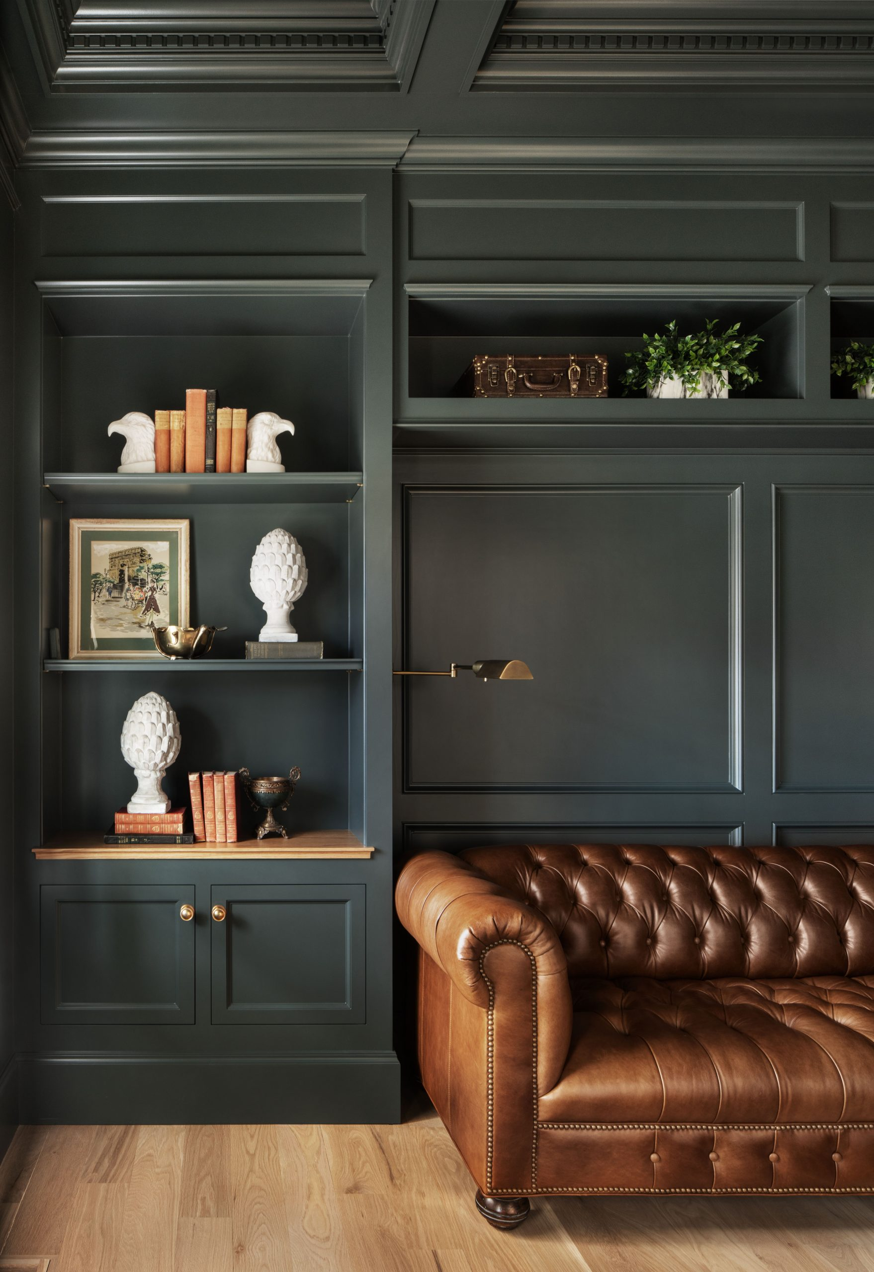 Which comes first—the custom cabinets for your home or the furniture? Did you choose green cabinets to match the couch that belongs in the room or are you bringing in the rich leather couch because you know it'll pair perfectly with those deep green cabinets?