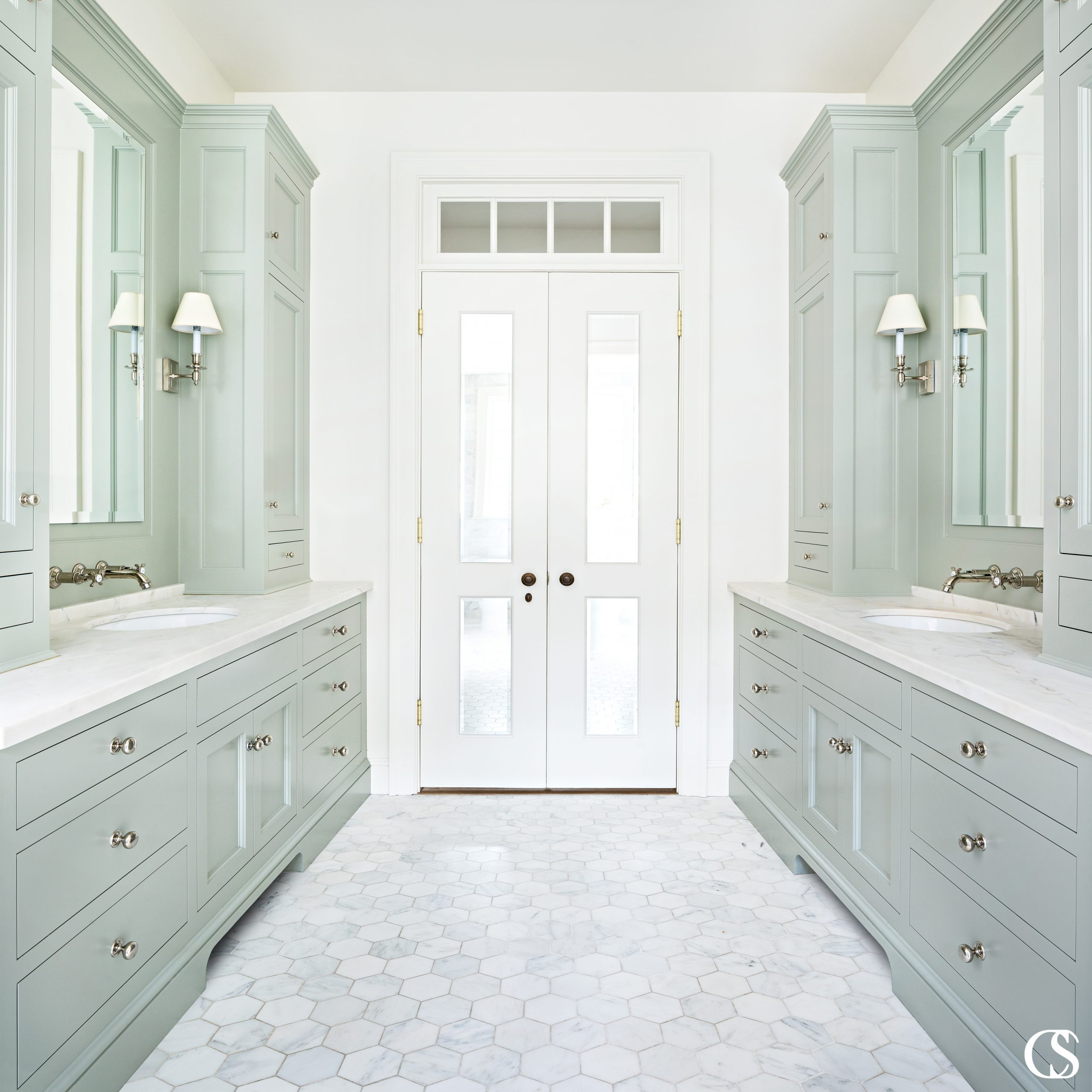 Some of the best bathroom cabinets are configured in a galley layout, which includes two vanity spaces separated by a pass-through. Each of these spaces can include sinks, or you can use one as a vanity area.