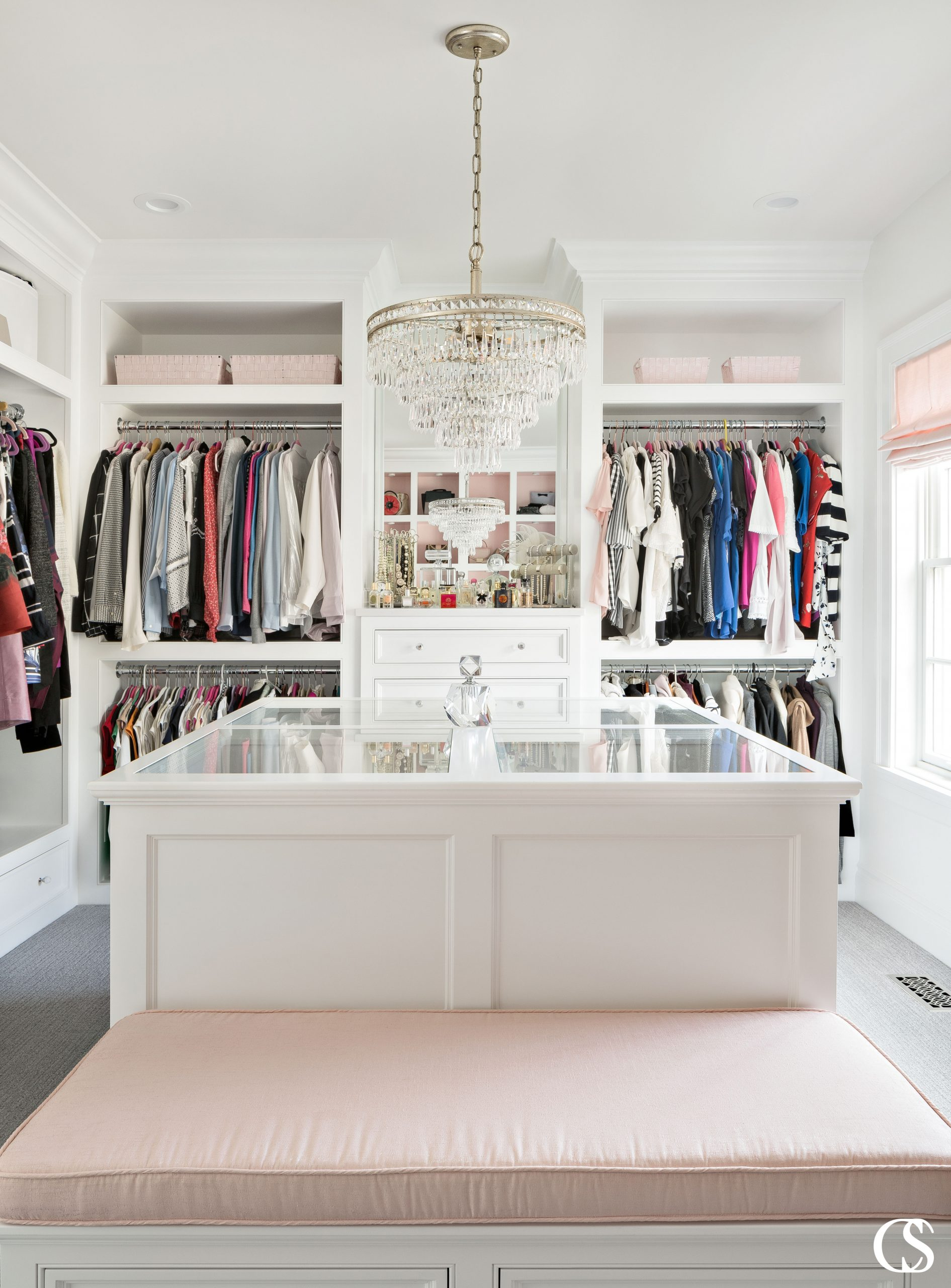 Don't you think the best custom closet design should also include space to rest? A closet should be able to pull double duty by working hard and providing privacy and peace.