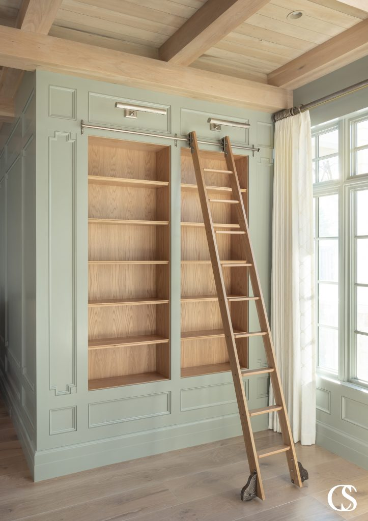 Custom cabinets for your office space can mean the creation of your own personal library, complete with rolling ladder to reach the highest tomes.
