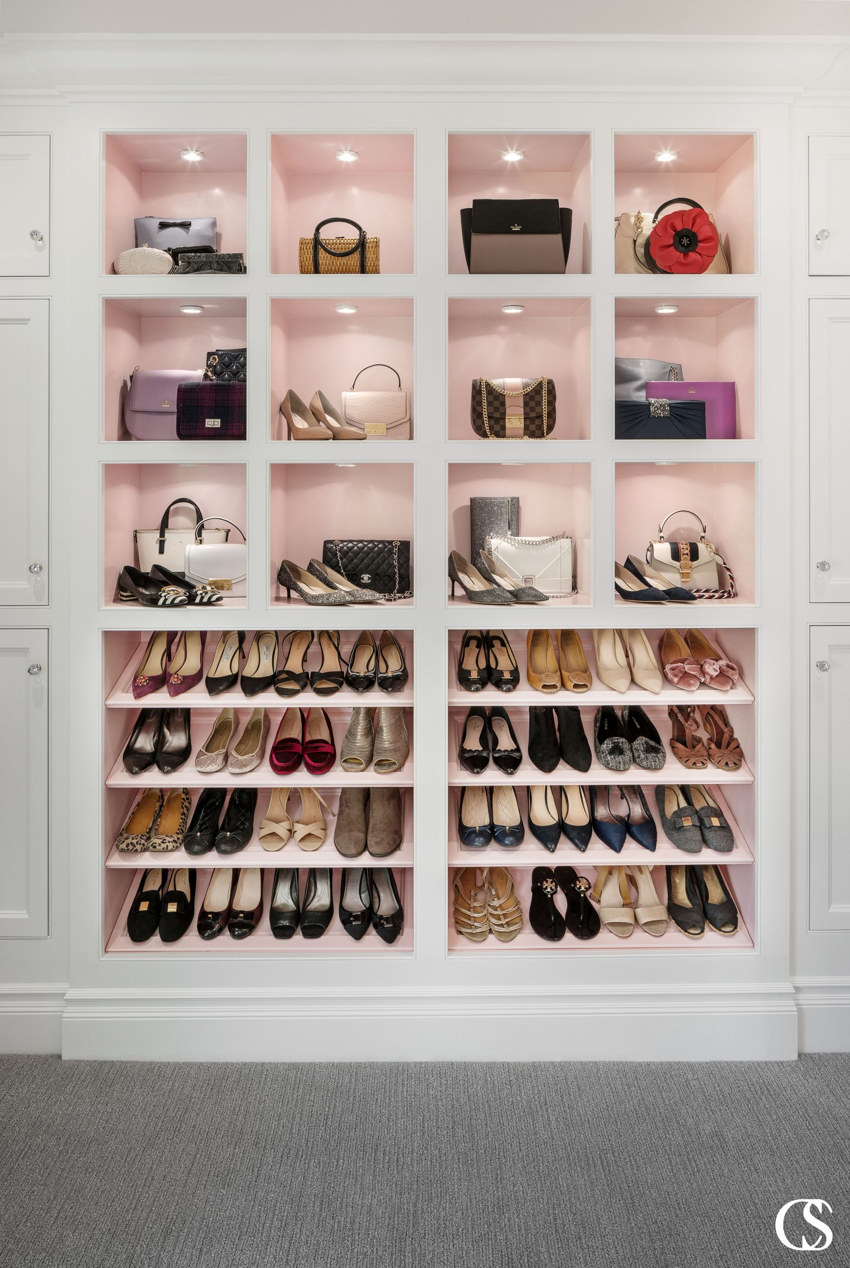 A custom shoe closet will take you on a luxury shopping trip every time you go to accessorize.